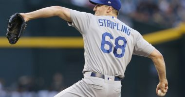 Los Angeles Dodgers pitcher Ross Stripling in a game against the Arizona Diamondbacks
