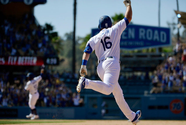 Los Angeles Dodgers catcher Will Smith rounds the bases after a walk-off home run against the Colorado Rockies