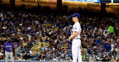 Los Angeles Dodgers starting pitcher Walker Buehler against the Colorado Rockies