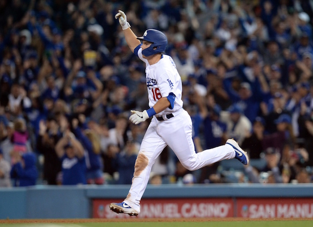 Los Angeles Dodgers catcher Will Smith rounds the bases on a walk-off home run
