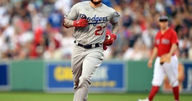 Los Angeles Dodgers outfielder Alex Verdugo rounds the bases after hitting a home run against the Boston Red Sox