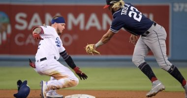 Los Angeles Dodgers outfielder Alex Verdugo slides into second base