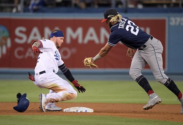 Los Angeles Dodgers outfielder Alex Verdugo slides into second base
