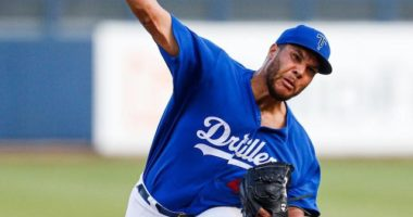 Los Angeles Dodgers pitching prospect Andre Scrubb with Double-A Tulsa Drillers before being traded to the Houston Astros