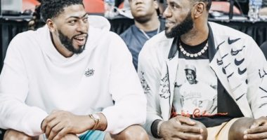 Los Angeles Lakers teammates Anthony Davis and LeBron James watch a Las Vegas Summer League Game
