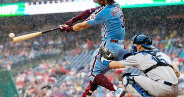 Philadelphia Phillies right fielder Bryce Harper hits a double against the Los Angeles Dodgers