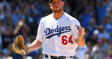 Los Angeles Dodgers pitcher Caleb Ferguson reacts after a win against the Miami Marlins
