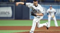 Tampa Bay Rays relief pitcher Casey Sadler, who is now with the Los Angeles Dodgers