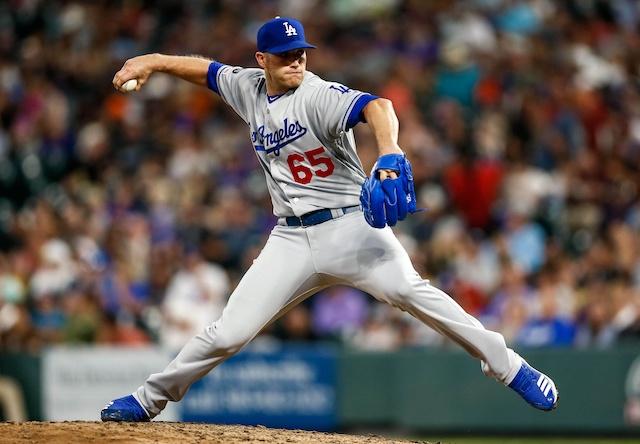 Los Angeles Dodgers relief pitcher Casey Sadler against the Colorado Rockies