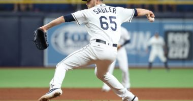 Tampa Bay Rays relief pitcher Casey Sadler was traded to the Los Angeles Dodgers