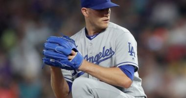 Los Angeles Dodgers relief pitcher Casey Sadler against the Colorado Rockies