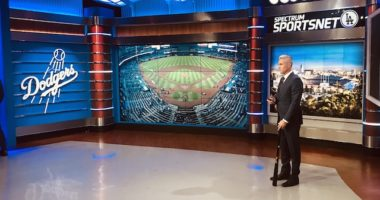 Chase Utley working as a Los Angeles Dodgers studio analyst for SportsNet LA