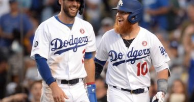 Los Angeles Dodgers teammates Chris Taylor and Justin Turner