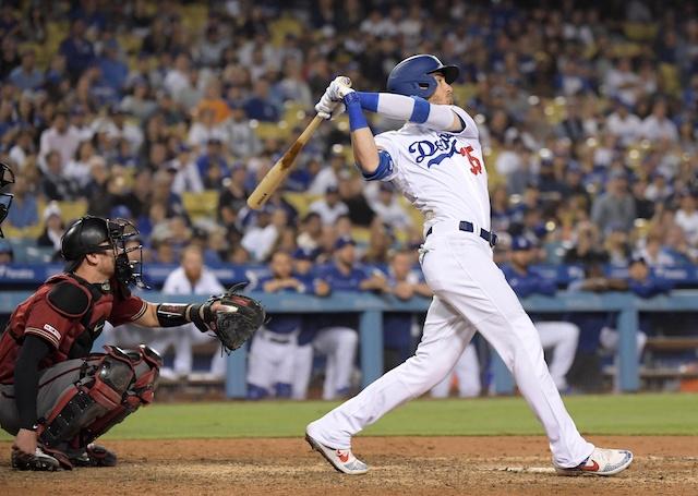 Los Angeles Dodgers right fielder Cody Bellinger hits a walk-off home run against the Arizona Diamondbacks