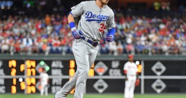 Los Angeles Dodgers right fielder Cody Bellinger rounds the bases after hitting a home run against the Philadelphia Phillies