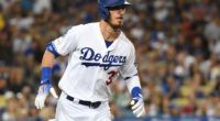 Los Angeles Dodgers right fielder Cody Bellinger hits a single against the Los Angeles Angels of Anaheim