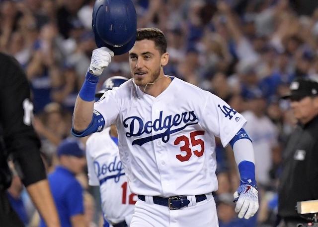 Los Angeles Dodgers right fielder Cody Bellinger celebrates after hitting a walk-off home run against the Arizona Diamondbacks