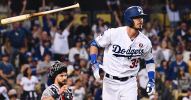Los Angeles Dodgers outfielder Cody Bellinger hits a home run against the San Diego Padres