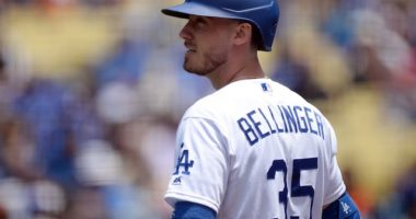 Los Angeles Dodgers right fielder Cody Bellinger on deck at Dodger Stadium