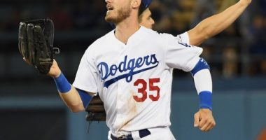 Los Angeles Dodgers right fielder Cody Bellinger celebrates after a win against the Miami Marlins