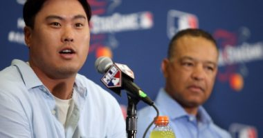 Los Angeles Dodgers manager Dave Roberts and National League starting pitcher Hyun-Jin Ryu during media availability for the 2019 MLB All-Star Game