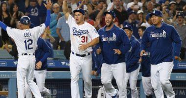 Dino Ebel, Clayton Kershaw, Joc Pederson and Hyun-Jin Ryu after a Los Angeles Dodgers walk-off win against the Arizona Diamondbacks