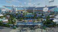 Dodger Stadium renovation rendering, center field plaza entrance