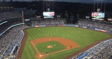 General view of Dodger Stadium during a game between the Arizona Diamondbacks and Los Angeles Dodgers