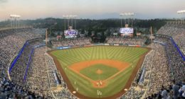 General view of Dodger Stadium during a game between the Los Angeles Dodgers and San Diego Padres