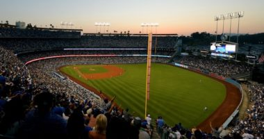 General view of Dodger Stadium during a game between the Los Angeles Dodgers and San Diego Padres on the Fourth of July
