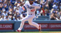 Los Angeles Dodgers infielder Edwin Rios runs toward home plate at Dodger Stadium