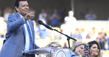 Former Los Angeles Dodgers pitcher Fernando Valenzuela speaks during his Legends of Dodger Baseball ceremony