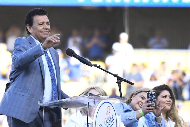 Former Los Angeles Dodgers pitcher Fernando Valenzuela speaks during his Legends of Dodger Baseball ceremony