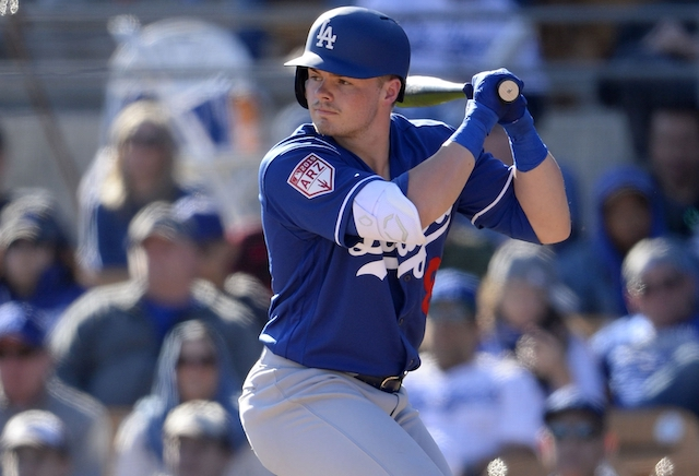 Gavin Lux during a Los Angeles Dodgers Spring Training game