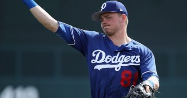 Gavin Lux during a Los Angeles Dodgers Spring Training workout at Camelback Ranch