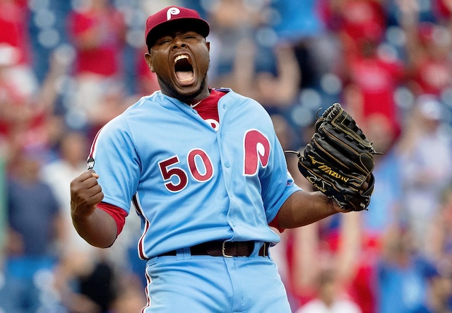 Philadelphia Phillies closer Hector Neris reacts after converting a save against the Los Angeles Dodgers
