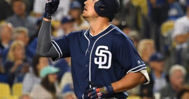 San Diego Padres outfielder Hunter Renfroe reacts after hitting a home run against the Los Angeles Dodgers