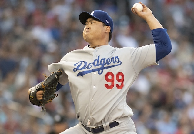 Los Angeles Dodgers starting pitcher Hyun-Jin Ryu against the Washington Nationals