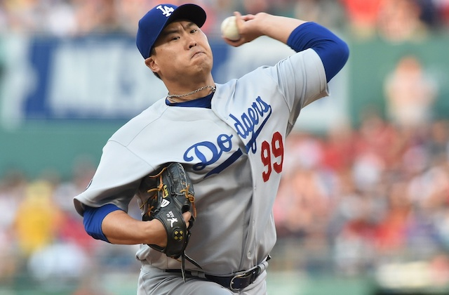 Los Angeles Dodgers starting pitcher Hyun-Jin Ryu against the Boston Red Sox at Fenway Park