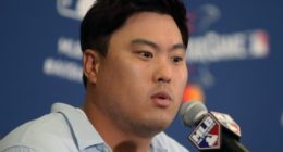 Los Angeles Dodgers and National League starting pitcher Hyun-Jin Ryu during media availability for the 2019 MLB All-Star Game