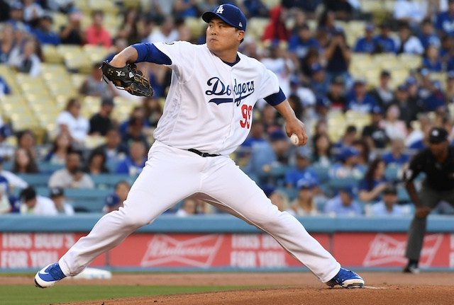 Los Angeles Dodgers starting pitcher Hyun-Jin Ryu against the Miami Marlins