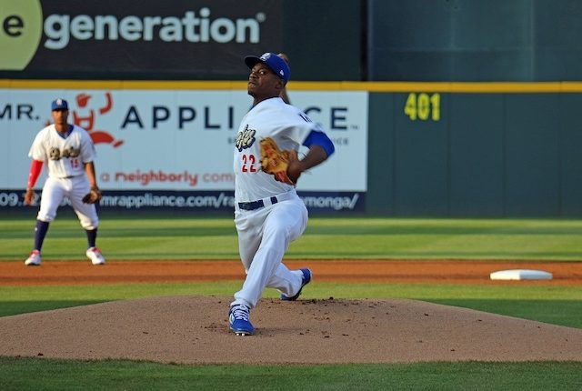 Los Angeles Dodgers prospects Jeter Downs (shortstop) and Josiah Gray (pitcher) in a game for High-A Rancho Cucamonga Quakes