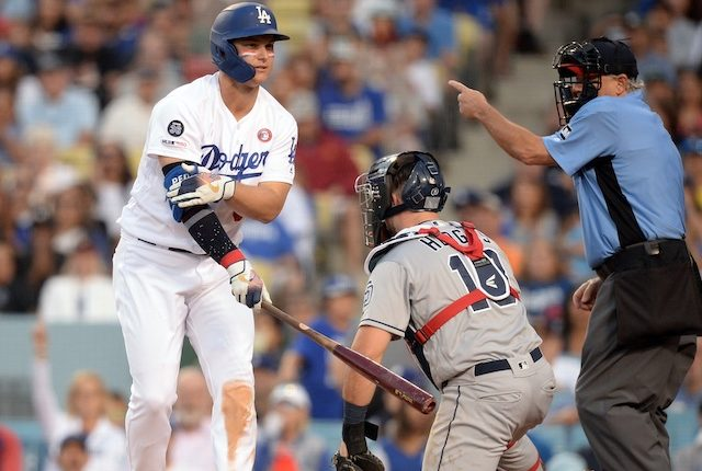 Los Angeles Dodgers outfielder Joc Pederson hit by a pitch with the bases loaded