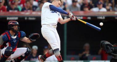 Los Angeles Dodgers outfielder Joc Pederson participating in the 2019 Home Run Derby at Progressive Field