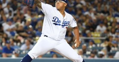 Los Angeles Dodgers pitcher Julio Urias against the Los Angeles Angels of Anaheim
