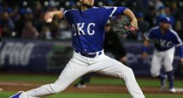 Relief pitcher Justin Grimm in a game for Triple-A Oklahoma City Dodgers