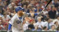 Los Angeles Dodgers third baseman Justin Turner hits a home run against the Washington Nationals