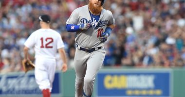 Los Angeles Dodgers third baseman Justin Turner rounds the bases after hitting a home run at Fenway Park