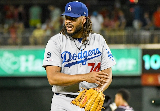 Los Angeles Dodgers closer Kenley Jansen reacts after a save against the Washington Nationals