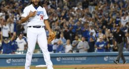 Los Angeles Dodgers closer Kenley Jansen celebrates after a win against the Miami Marlins